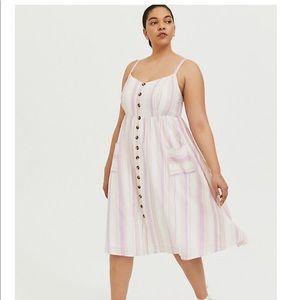 Nwt Torrid size 00 Multi Strip Linen MIDI Dress